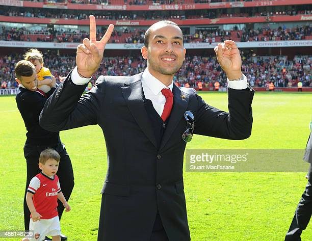 Arsenal's Theo Walcott after the Barclays Premier League match between Arsenal and West Bromwich Albion at Emirates Stadium on May 4 2014 in London...