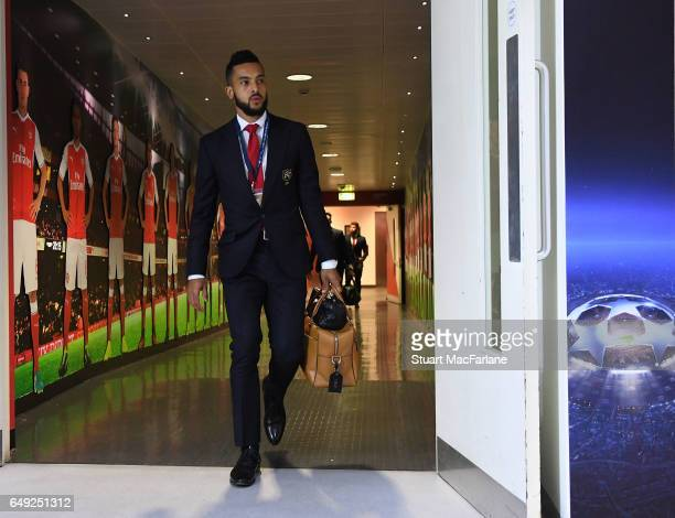 Arsenal's Theo Walcott arrives at the home changing room before the UEFA Champions League Round of 16 second leg match between Arsenal FC and FC...