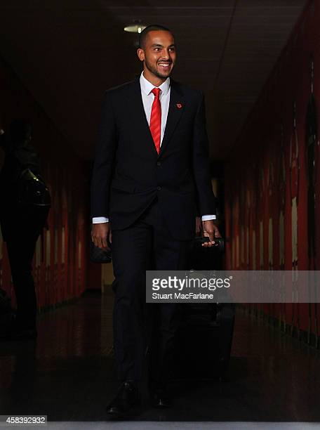 Arsenal's Theo Walcott arrives at the home team changing room before the UEFA Champions League Group D match between Arsenal and Anderlecht at...