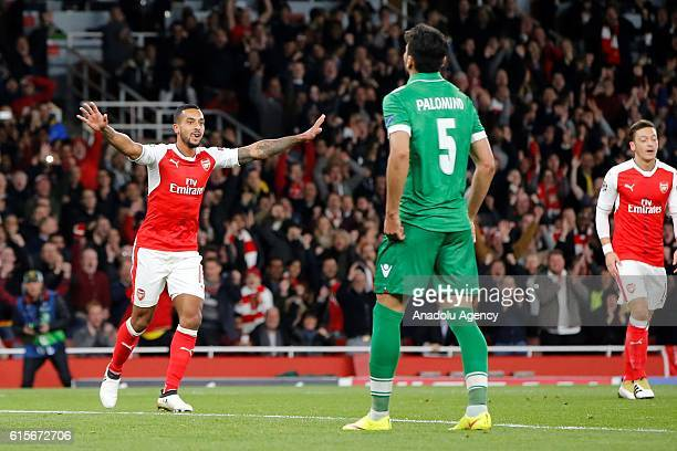 Arsenals Theo Walcott celebrates after scoring the first goal during Champions League Group A match between Arsenal FC and Ludogorets Razgrad at...