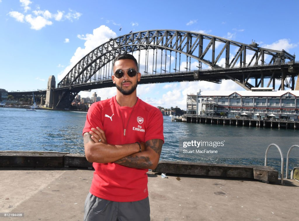Arsenal's Theo Walcott under the Sydney Harbour Bridge on July 11, 2017 in Sydney, New South Wales.