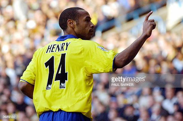 Arsenal's Thierry Henry celebrates after scoring Arsenal's third goal against Leeds during today's premiereship clash at Elland Road in Leeds 01...