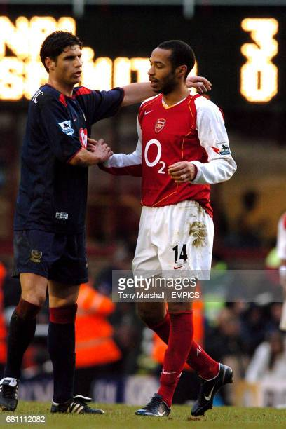 Arsenal's Thierry Henry shakes hands with Portsmouth's Dejan Stefanovic at the final whistle