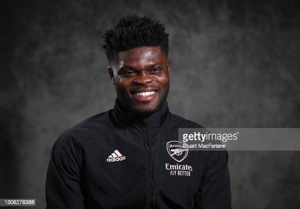 Arsenal's Thomas Partey talks to the press before a training session at London Colney on March 10, 2021 in St Albans, England.