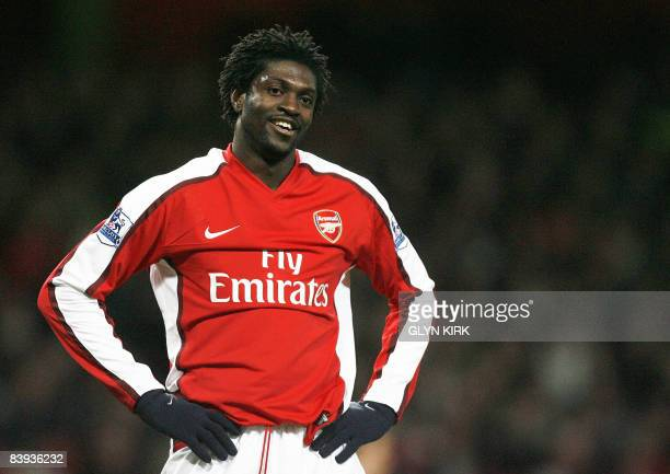 Arsenal's Togolese striker Emmanuel Adebayor reflects on another miss during the Premier League football match against Wigan at the Emirates Stadium...
