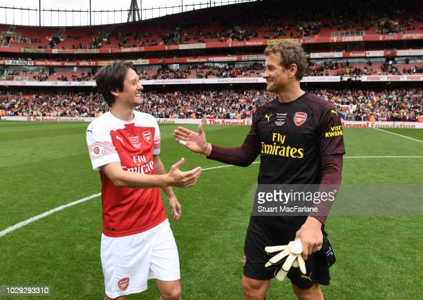 Arsenal's Tomas Rosicky and Lens Lehmann after the match between Arsenal Legends and Real Madrid Legends at Emirates Stadium on September 8, 2018 in...