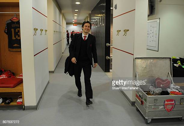 Arsenal's Tomas Rosicky in the home changing room before the The Emirates FA Cup Fourth Round match between Arsenal and Burnley at Emirates Stadium...