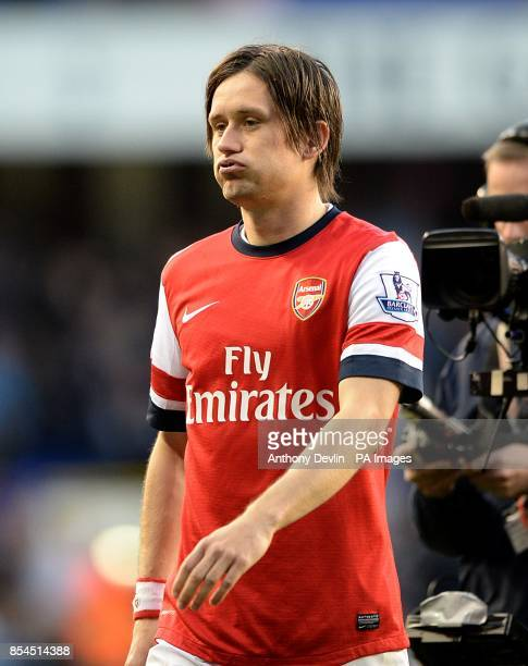 Arsenal's Tomas Rosicky reacts after the game