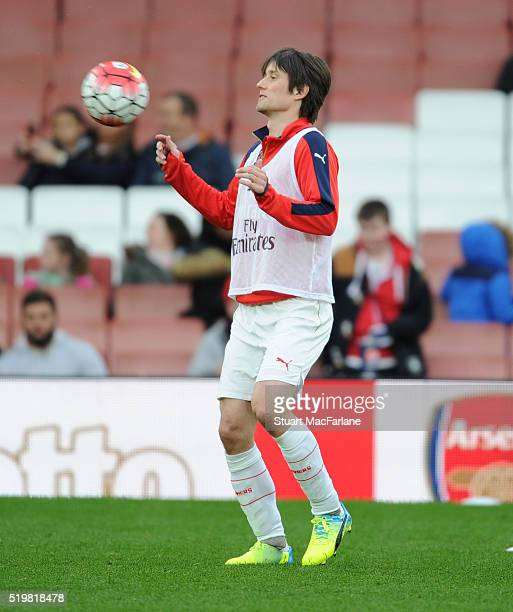 Arsenal's Tomas Rosicky warms up before the U21 Premier League match between Arsenal and Newcastle at the Boleyn Ground on April 9 2016 in London...