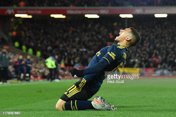 Arsenal's Uruguayan midfielder Lucas Torreira celebrates after scoring the equalising goal during the English League Cup fourth round football match...