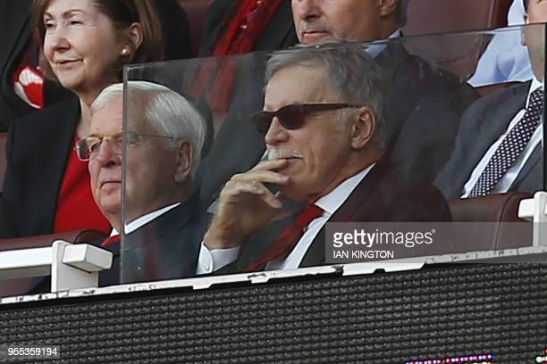 Arsenal's US owner Stan Kroenke looks on during the English Premier League football match between Arsenal and Burnley at the Emirates Stadium in...