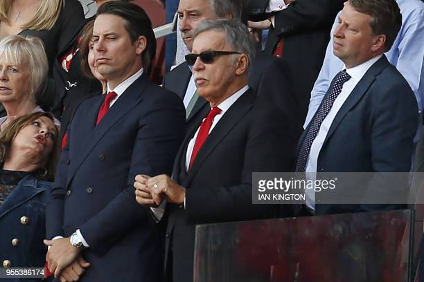 Arsenal's US owner Stan Kroenke looks on during the presentation to Arsenal's French manager Arsene Wenger after the English Premier League football...