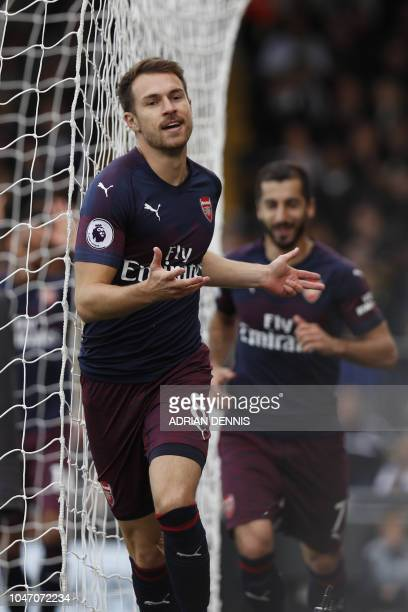 Arsenal's Welsh midfielder Aaron Ramsey celebrates after scoring the team's third goal during the English Premier League football match between...