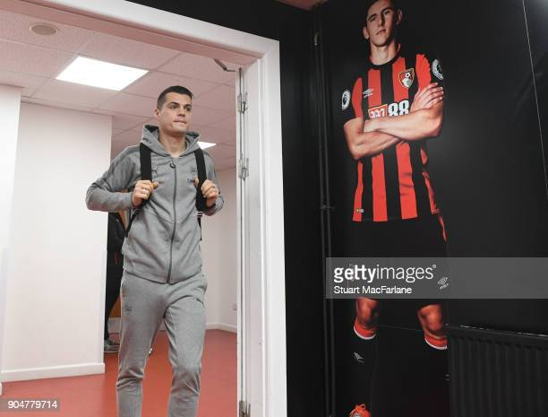 Arsenal'sGranit Xhaka arrives at the Vitality Stadium the Premier League match between AFC Bournemouth and Arsenal on January 14 2018 in Bournemouth...