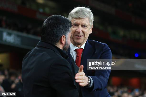 Arsene Weneger manager of Arsenal greets Gennaro Gattuso manger / head coach of AC Milan during the UEFA Europa League Round of 16 2nd leg match...