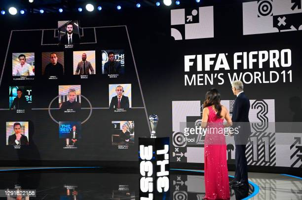 Arsene Wenger and Reshmin Chowdhury present the FIFA FIFAPRO Men's World 11 during the The Best FIFA Football Awards on December 17, 2020 in Zurich,...