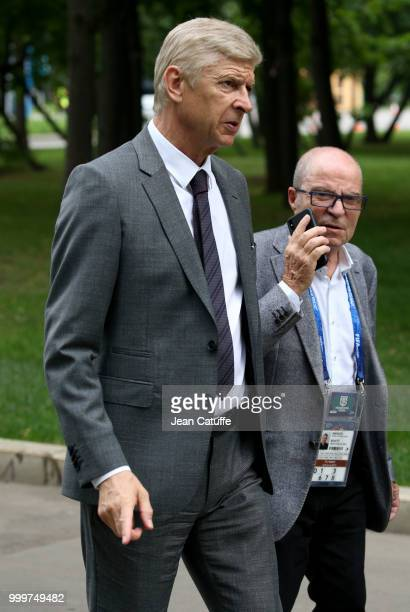 Arsene Wenger arrives to attend the 2018 FIFA World Cup Russia Final match between France and Croatia at Luzhniki Stadium on July 15 2018 in Moscow...