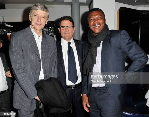 Arsene Wenger Arsenal Football manager with England Football manager Fabio Capello and Academy member Marcel Desailly attend the Laureus Welcome...