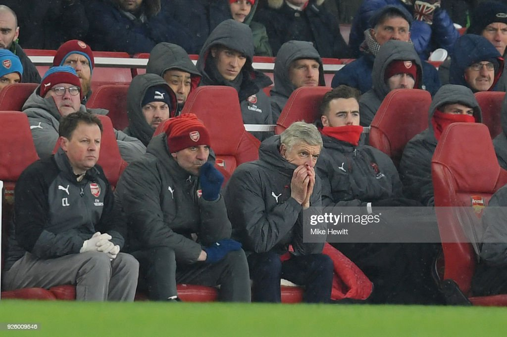 Arsene Wenger, Arsenal manager looks dejected during the Premier League match between Arsenal and Manchester City at Emirates Stadium on March 1, 2018 in London, England.