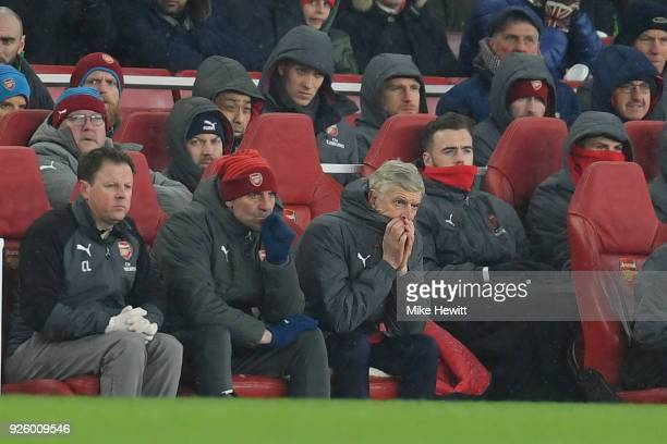 Arsene Wenger Arsenal manager looks dejected during the Premier League match between Arsenal and Manchester City at Emirates Stadium on March 1 2018...