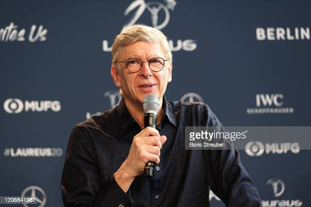 Arsene Wenger during an interview at the Mercedes Benz Building prior to the Laureus World Sports Awards on February 17 2020 in Berlin Germany