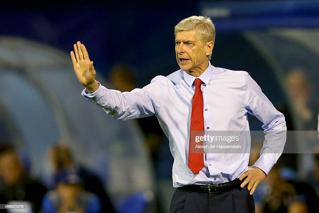 Arsene Wenger, head coach of Arsenal London reacts during the UEFA Champions League Group F match between Dinamo Zagreb and Arsenal at Maksimir Stadium on September 16, 2015 in Zagreb, Croatia.