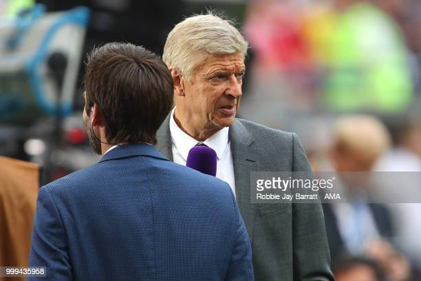 Arsene Wenger is interviewed for TV prior to the 2018 FIFA World Cup Russia Final between France and Croatia at Luzhniki Stadium on July 15 2018 in...