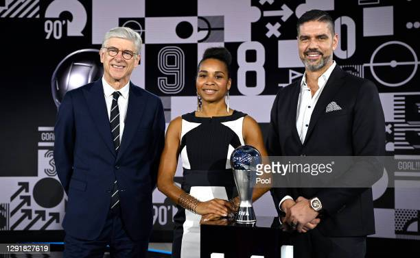 Arsene Wenger, Laura Georges and Pascal Zuberbuehler pose for a photo after during the The Best FIFA Football Awards on December 17, 2020 in Zurich,...