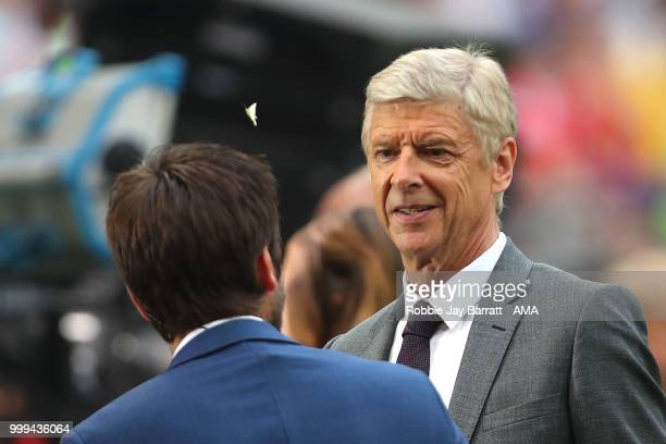 Arsene Wenger looks at a butterfly as he is interviewed for TV prior to the 2018 FIFA World Cup Russia Final between France and Croatia at Luzhniki...