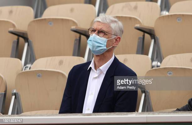 Arsene Wenger looks on during day four of the 2021 French Open at Roland Garros on June 02, 2021 in Paris, France.