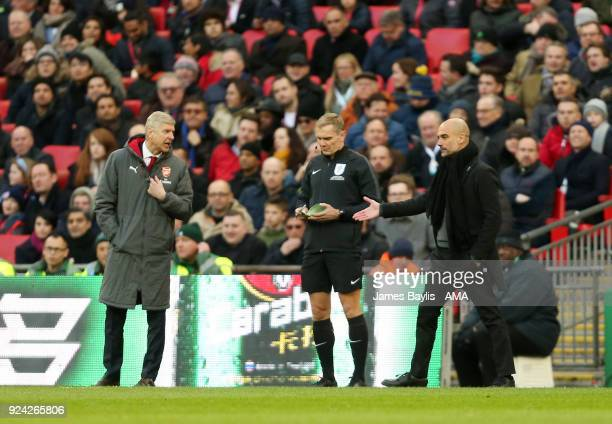 Arsene Wenger manager / head coach of Arsenal and Pep Guardiola manager / head coach of Manchester City exchange words during an argument on the...