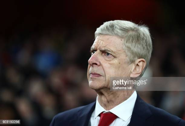 Arsene Wenger manager / head coach of Arsenal during the UEFA Europa League Round of 32 match between Arsenal and Ostersunds FK at the Emirates...