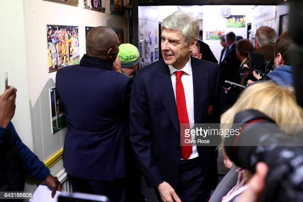 Arsene Wenger manager of Arsenal arrives at the stadium for the Emirates FA Cup fifth round match between Sutton United and Arsenal on February 20...