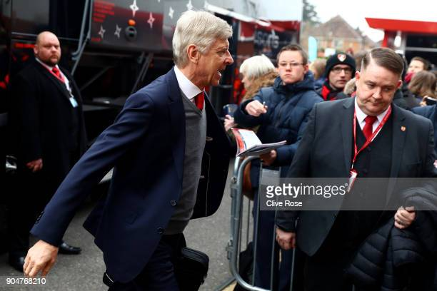 Arsene Wenger Manager of Arsenal arrives at the stadium prior to the Premier League match between AFC Bournemouth and Arsenal at Vitality Stadium on...