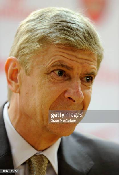 Arsene Wenger manager of Arsenal during a press conference at Emirates Stadium on April 18 2013 in London England