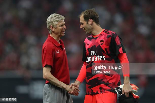 Arsene Wenger manager of Arsenal FC shakes hands with goalkeeper Petr Cech of Arsenal after the 2017 International Champions Cup football match...