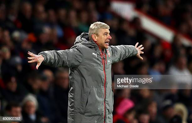 Arsene Wenger Manager of Arsenal gestures during the Premier League match between AFC Bournemouth and Arsenal at Vitality Stadium on January 3 2017...