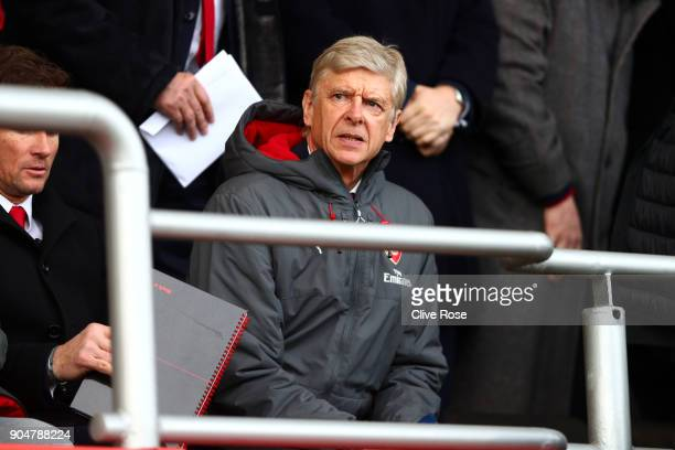 Arsene Wenger Manager of Arsenal is seen on the stands during the Premier League match between AFC Bournemouth and Arsenal at Vitality Stadium on...