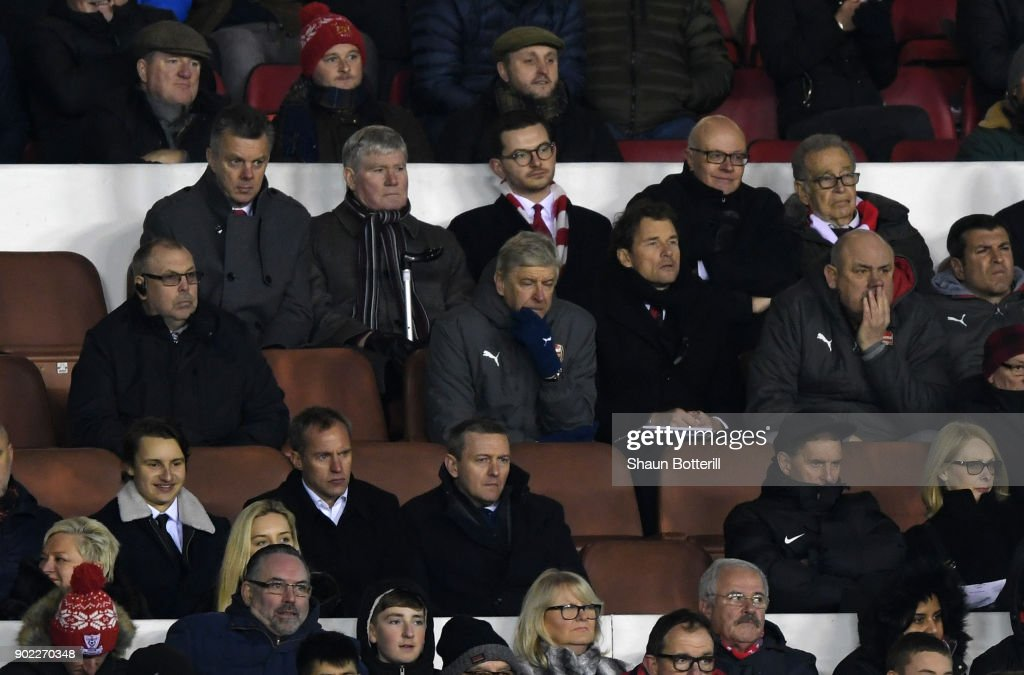 Arsene Wenger, Manager of Arsenal looks dejected during The Emirates FA Cup Third Round match between Nottingham Forest and Arsenal at City Ground on January 7, 2018 in Nottingham, England.