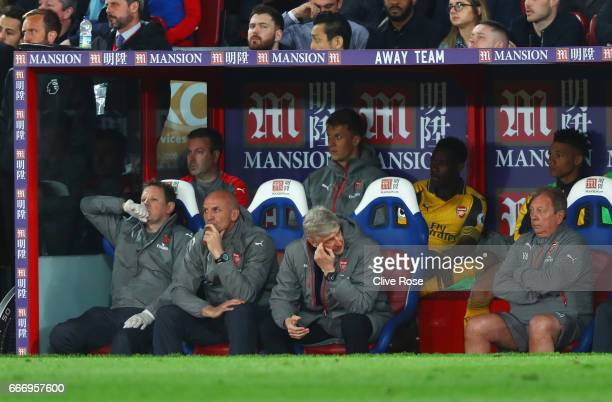 Arsene Wenger Manager of Arsenal looks dejected from the bench during the Premier League match between Crystal Palace and Arsenal at Selhurst Park on...