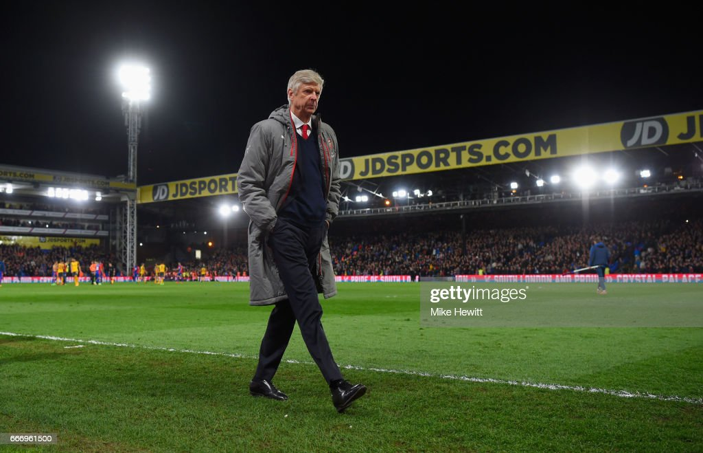 Arsene Wenger, Manager of Arsenal looks dejected in defeat after the Premier League match between Crystal Palace and Arsenal at Selhurst Park on April 10, 2017 in London, England.
