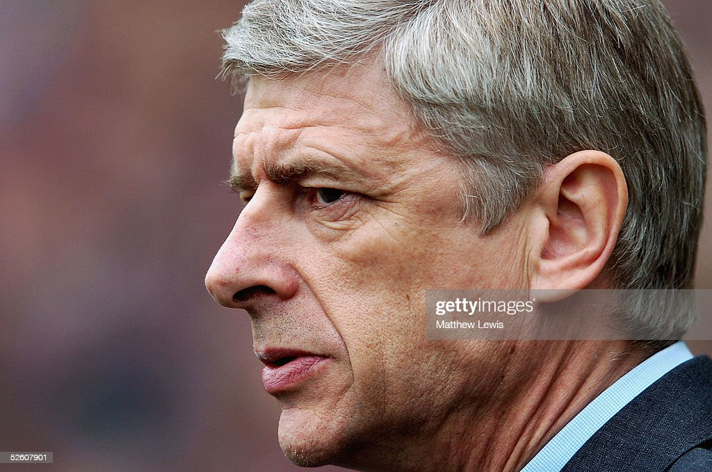 Arsene Wenger, manager of Arsenal, looks on during the Barclays Premiership match between Middlesbrough and Arsenal at the Riverside Stadium on April 9, 2005 in Middlesbrough, England.