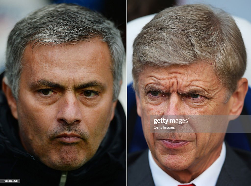 IMAGES - Image Numbers 186970818 (L) and 185913816) In this composite image a comparison has been made between Chelsea Manager Jose Mourinho (L) and Arsenal Manager Arsene Wenger. The Premier League match between Arsenal and Chelsea takes place on December 23, 2013 at the Emirates Stadium, London, England. LONDON, ENGLAND - OCTOBER 26: Arsene Wenger, manager of Arsenal looks on during the Barclays Premier League match between Crystal Palace and Arsenal at Selhurst Park on October 26, 2013 in London, England.