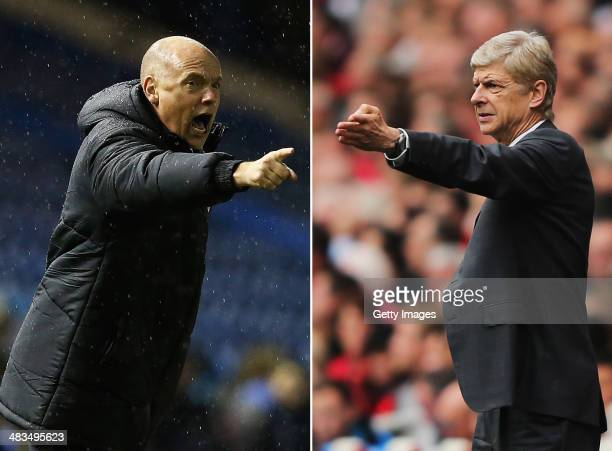 IMAGES Image Numbers 457696769 and 181534680 In this composite image a comparison has been made between Uwe Rosler Wigan manager and Arsene Wengerthe...