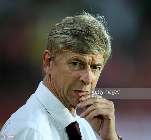 Arsene Wenger Manager of Arsenal looks on during the Champions League 3rd qualifying round 1st leg match between Sparta Prague and Arsenal at the...