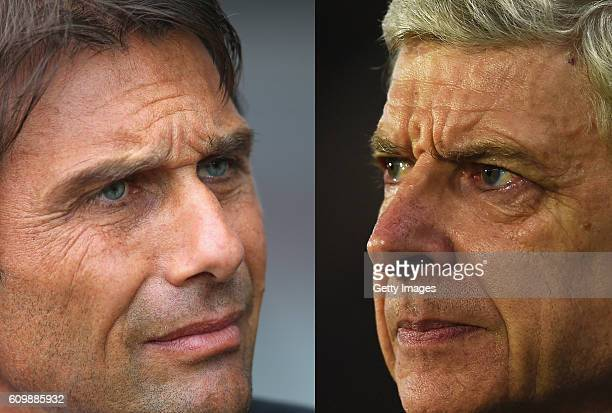 COMPOSITE OF TWO IMAGES Image numbers 602356340 and 514338590 In this composite image a comparision has been made between Antonio Conte manager of...