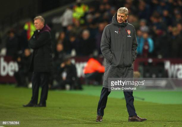 Arsene Wenger Manager of Arsenal looks on during the Premier League match between West Ham United and Arsenal at London Stadium on December 13 2017...