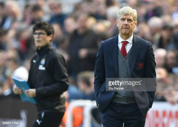 Arsene Wenger Manager of Arsenal looks on during the Premier League match between Newcastle United and Arsenal at St James Park on April 15 2018 in...