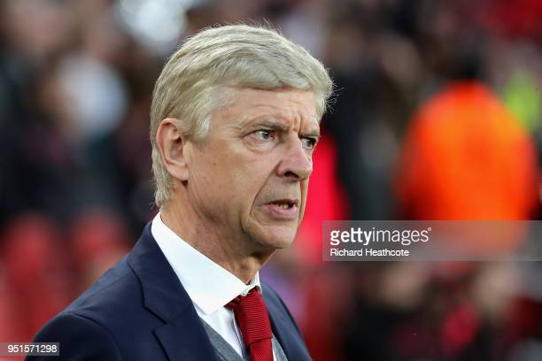 Arsene Wenger Manager of Arsenal looks on during the UEFA Europa League Semi Final leg one match between Arsenal FC and Atletico Madrid at Emirates...