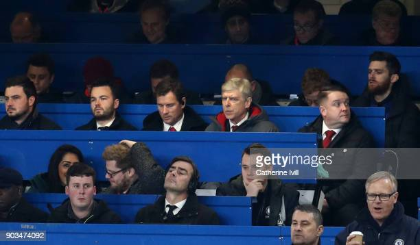 Arsene Wenger Manager of Arsenal looks on from the stands during the Carabao Cup SemiFinal First Leg match between Chelsea and Arsenal at Stamford...
